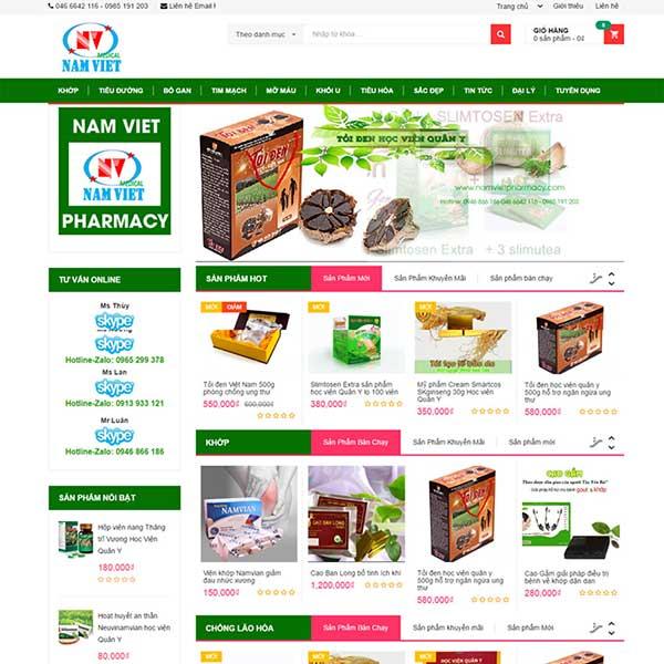mẫu website bán dược phẩm