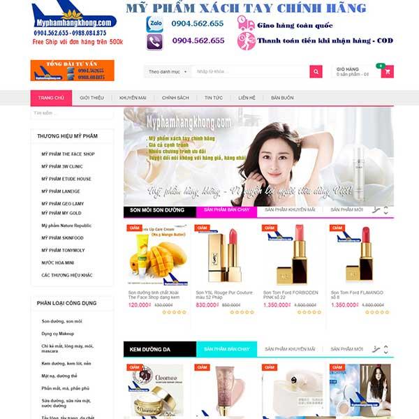 mẫu website mỹ phẩm xách tay
