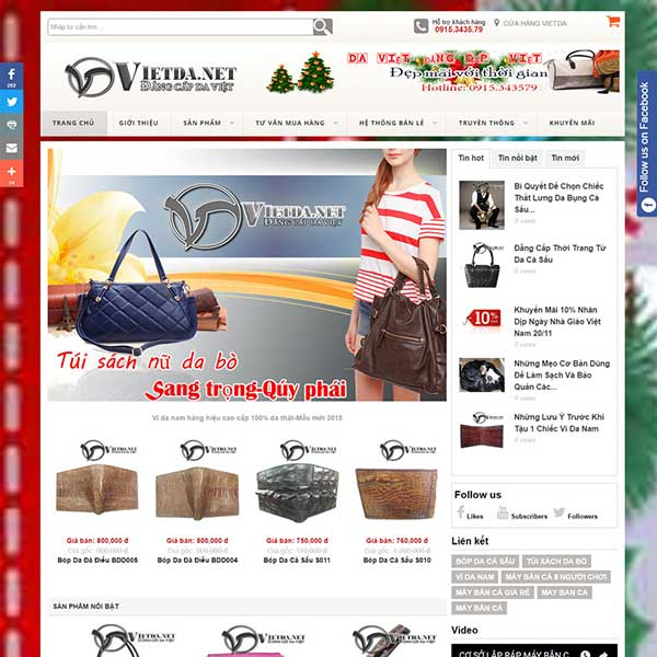 mẫu website bán dây lưng ví da