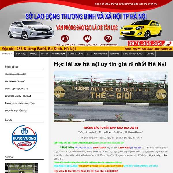 mẫu website trung tâm đào tạo lái xe