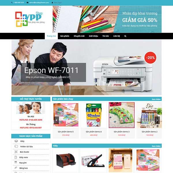mẫu website bán văn phòng phẩm