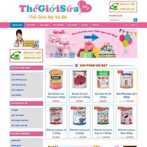 Website Bán Bỉm Sữa Thế Giới Mẹ Và Bé 365 SBW119