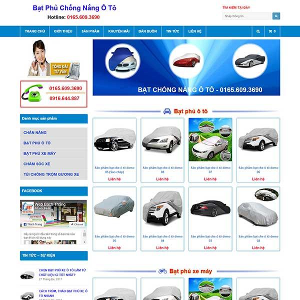 mẫu website bán bạt phủ oto