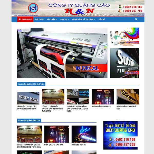 mẫu website dịch vụ làm biển quảng cáo