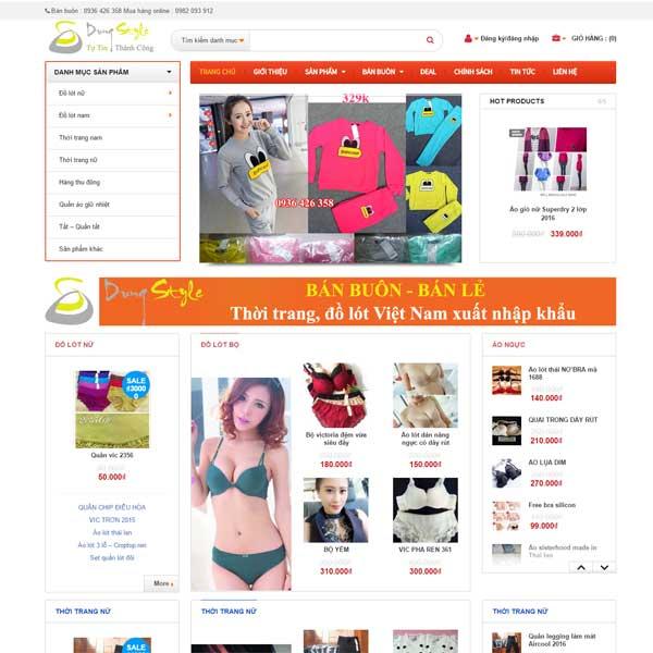 mẫu website bán quần áo