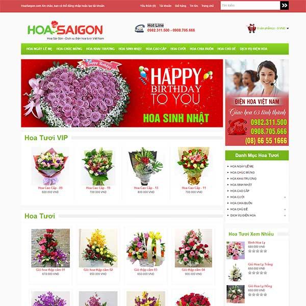 mẫu website bán hoa tươi
