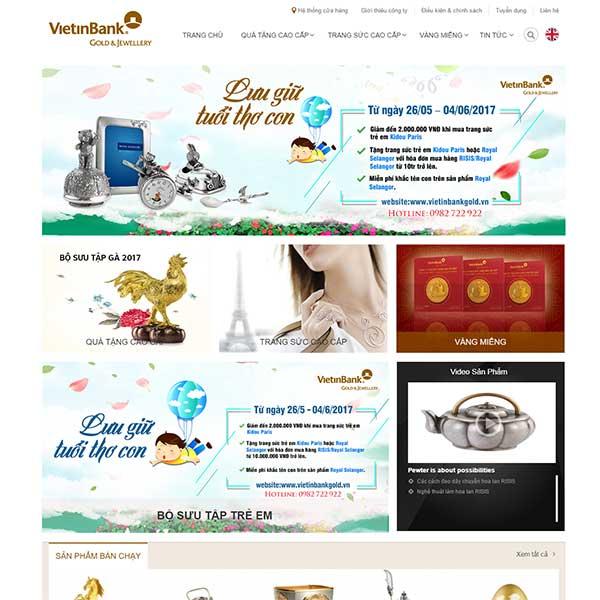 mẫu website bán vàng bạc