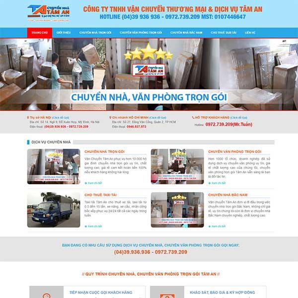 mẫu website chuyển nhà trọn gói