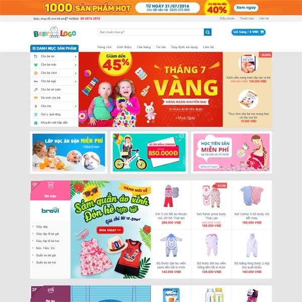 mẫu website thời trang cho bé