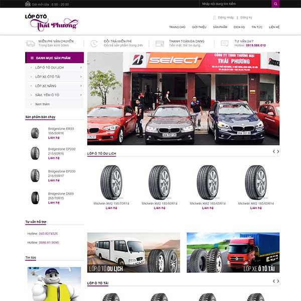 mẫu website bán lốp ô tô