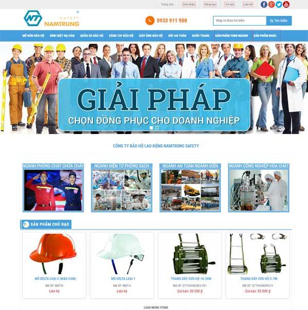 mẫu website bán đồ bảo hộ lao động