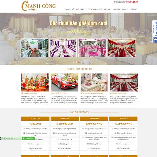mẫu website dịch vụ cưới hỏi
