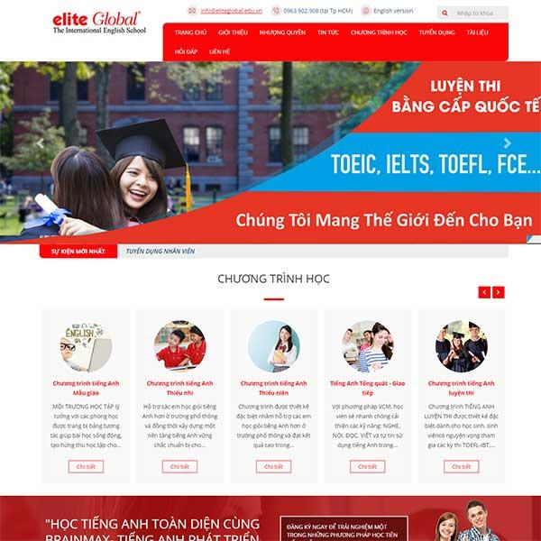 mẫu website trung tâm tiếng anh