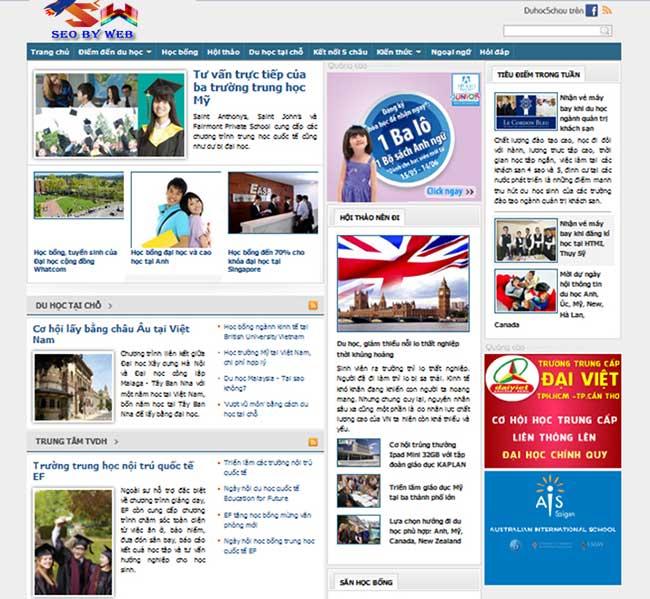 thiết kế website công ty du học