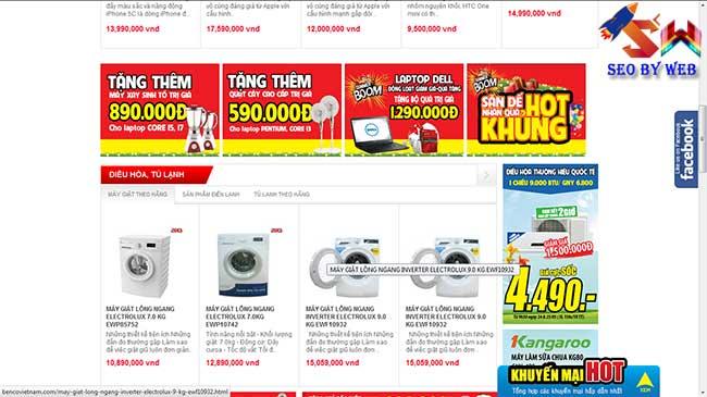 thiết kế website siêu thị điện máy