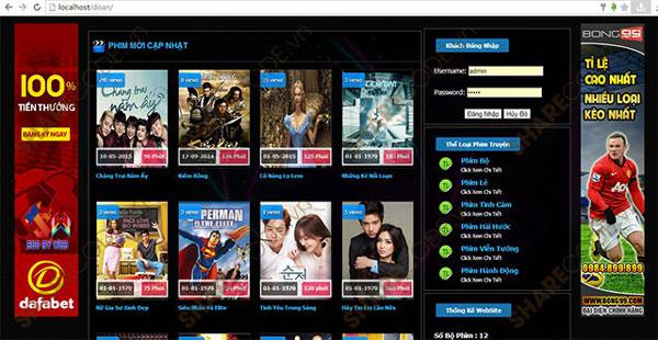 Mẫu giao diện website xem phim